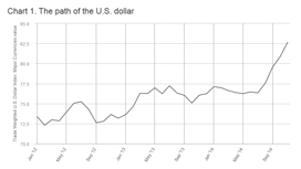 This is a chart the displays the path of the US dollar chart from January 2012 through July 2014